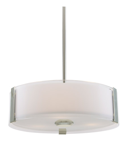 DVI Lighting Zurich 3 Light Pendant In Satin Nickel With