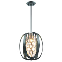 DVI Lighting Aragon 4 Light Pendant Semi Flushmount in Graphite with Optic Glass Crystals DVP0214GR-CRY
