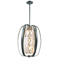 DVI Lighting Aragon 6 Light Pendant in Graphite with Optic Glass Crystals DVP0215GR-CRY