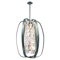 DVI Lighting Aragon 8 Light Pendant in Graphite with Optic Glass Crystals DVP0216GR-CRY