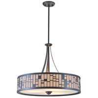 DVI Lighting Lisbon 3 Light Pendant in Forged Iron with Oatmeal Fabric Shade DVP10805FI-OM