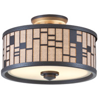 Lisbon 2 Light 12 inch Forged Iron Semi Flush Mount Ceiling Light in Oatmeal Fabric Shade