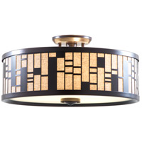 Lisbon 3 Light 16 inch Forged Iron Semi Flush Mount Ceiling Light in Oatmeal Fabric Shade