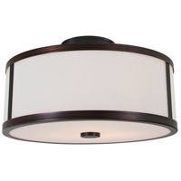 Uptown 3 Light 16 inch Oil Rubbed Bronze Semi Flush Mount Ceiling Light