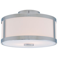 Uptown 2 Light 12 inch Chrome Semi Flush Mount Ceiling Light