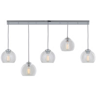 DVI Lighting Oberon 5 Light Mini Pendant in Chrome with Clear Glass DVP13202CH-CL