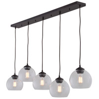 DVI Lighting Oberon 5 Light Mini Pendant in Mocha with Clear Glass DVP13202MO-CL