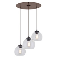 DVI Lighting Oberon 3 Light Linear Pendant in Mocha with Clear Glass DVP13253MO-CL