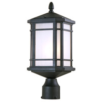 DVI Lighting Cardiff 1 Light Post Top in Black with Sand Blasted Seedy Glass DVP142014BK-SSD