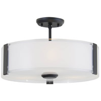 Zurich 3 Light 16 inch Graphite Semi Flush Mount Ceiling Light