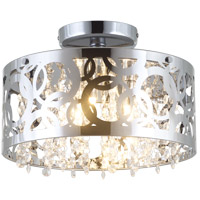 Woodstock 3 Light 12 inch Chrome Semi Flush Mount Ceiling Light