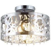 DVI DVP14711CH-CRY Woodstock 3 Light 12 inch Chrome Semi Flush Mount Ceiling Light