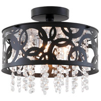 Woodstock 3 Light 12 inch Ebony Semi Flush Mount Ceiling Light