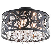 Woodstock 3 Light 15 inch Ebony Semi Flush Mount Ceiling Light