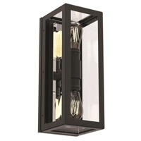 DVI DVP15601GR/CH-CL Baker Street 2 Light 16 inch Graphite and Chrome Outdoor Sconce