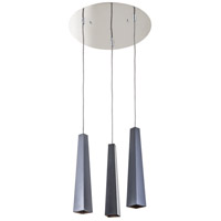 Obelisk 3 Light 16 inch Chrome and Graphite Pendant Ceiling Light