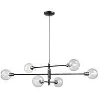 Ocean Drive 6 Light 42 inch Satin Nickel and Graphite Linear Pendant Ceiling Light