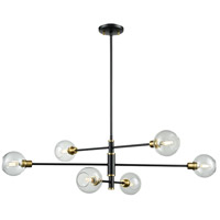 DVI DVP20802VBR/GR-CL Ocean Drive 6 Light 42 inch Venetian Brass and Graphite Linear Pendant Ceiling Light