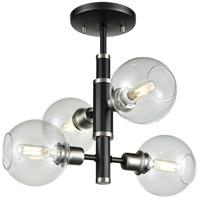 DVI DVP20811SN/GR-CL Ocean Drive 4 Light 17 inch Satin Nickel and Graphite Semi Flush Mount Ceiling Light