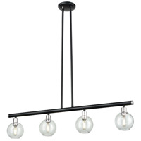 DVI DVP20824SN/GR-CL Ocean Drive 4 Light 34 inch Satin Nickel and Graphite Linear Pendant Ceiling Light