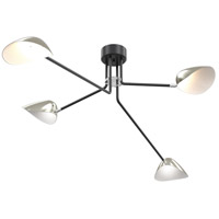 Abbey Road 4 Light 63 inch Graphite and Satin Nickel Semi Flush Mount Ceiling Light