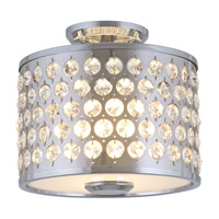 DVI Lighting Moondust 2 Light Semi Flush Mount in Chrome with Clear Optic Glass Inserts DVP2404CH-CRY