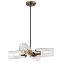 DVI DVP24705BR+GR-CL Barker 4 Light Brass and Graphite Pendant Ceiling Light