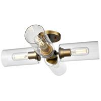 DVI DVP24711BR+GR-CL Barker 4 Light Brass and Graphite Semi-Flush Mount Ceiling Light