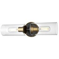 DVI DVP24722BR+GR-CL Barker 2 Light 19 inch Brass and Graphite Vanity Light Wall Light