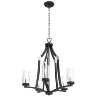St Eloi 5 Light 24 inch Satin Nickel and Graphite Chandelier Ceiling Light