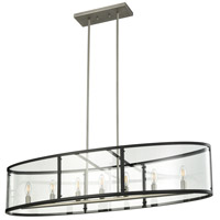 DVI DVP25402BN/GR-CL Downtown 7 Light 45 inch Buffed Nickel and Graphite Linear Pendant Ceiling Light