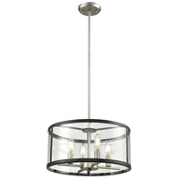 DVI DVP25406BN/GR-CL Downtown 4 Light 16 inch Buffed Nickel and Graphite Pendant Ceiling Light