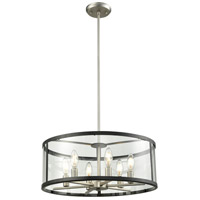 DVI DVP25408BN/GR-CL Downtown 6 Light 19 inch Buffed Nickel and Graphite Pendant Ceiling Light