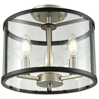 DVI DVP25411BN/GR-CL Downtown 3 Light 12 inch Buffed Nickel and Graphite Semi Flush Mount Ceiling Light