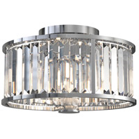 DVI DVP25711CH-CRY Vimy Ridge 3 Light 14 inch Chrome Semi Flush Mount Ceiling Light
