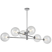 DVI DVP27002CH-CL Courcelette 6 Light 47 inch Chrome Linear Pendant Ceiling Light