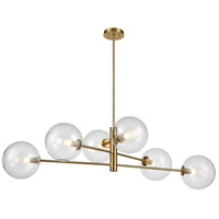 DVI DVP27002VBR-CL Courcelette 6 Light 47 inch Venetian Brass Linear Pendant Ceiling Light