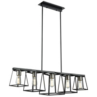 Cape Breton 5 Light Ebony Linear Pendant Ceiling Light