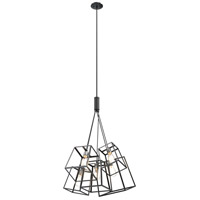 Cape Breton 5 Light 34 inch Buffed Nickel and Graphite Cluster Pendant Ceiling Light