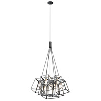 Cape Breton 7 Light 35 inch Buffed Nickel and Graphite Cluster Pendant Ceiling Light
