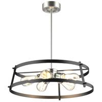 DVI DVP29405SN/GR Gentry 5 Light 21 inch Satin Nickel and Graphite Pendant Ceiling Light