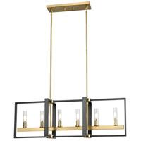 DVI DVP30202VBR+GR-CL Blairmore 6 Light 36 inch Venetian Brass and Graphite Linear Ceiling Light