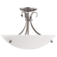 Georgian 3 Light 16 inch Satin Nickel Semi Flush Mount Ceiling Light