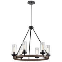 DVI DVP38626GR+IW-CL Okanagan 6 Light 18 inch Graphite and Ironwood Chandelier Ceiling Light