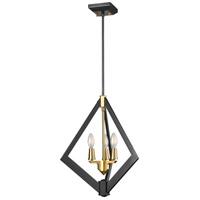 DVI DVP40147BR+GR Flechette 3 Light Brass and Graphite Foyer Ceiling Light