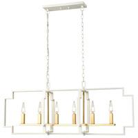 DVI DVP40602VBR+MW Provence 6 Light 44 inch Venetian Brass and Matte White Linear Ceiling Light