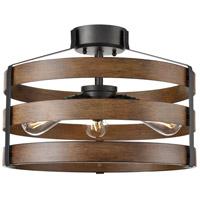 DVI DVP41812GR+IW Fort Garry 3 Light Graphite and Ironwood Semi-Flush Mount Ceiling Light