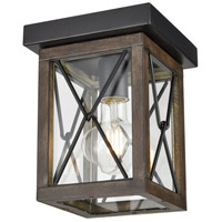 DVI DVP43374BK+IW-CL County Fair Outdoor 1 Light 7 inch Black and Ironwood Outdoor Flush Mount