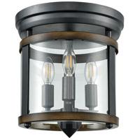 DVI DVP4432GR/IW Niagara 3 Light 12 inch Graphite and Iron Wood Flush Mount Ceiling Light