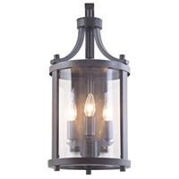 DVI Lighting Niagara 3 Light Outdoor Hanging Lantern in Hammered Black with Clear Glass DVP4471HB-CL